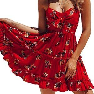 Womens Dress Floral Spaghetti Strap Tie Knot mini